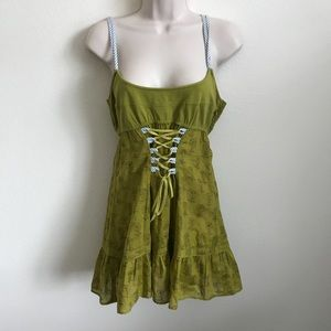 Green Free People Floral Corset Front Dress 12